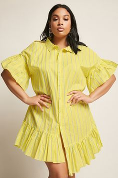 Plus Size Stripe Open-Shoulder Shirt Dress Simple Outfits, Simple Dresses, Trendy Outfits, Fashion Outfits, African Wear Dresses, Short Gowns, Curvy Girl Fashion, African Print Fashion, Muslim Fashion