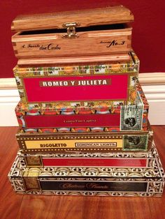 """My Art Deco Havana themed Wedding Card box :) Took my """"Future"""" and I a few months of collecting boxes and about an hour to carve thru and nail together. The 3rd box down has a trap door to empty the cards! Call me Martha!"""