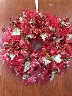 Deco mesh Christmas Wreath, Christmas front door wreath, red & gold wreath, pointsetta's, christmas mesh wreath by DecoWreathBoutique on Etsy