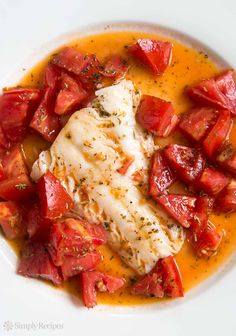 Cod Sautéed in Olive Oil with Fresh Tomatoes ~ A quick and easy recipe for fish sautéed in olive oil, with Italian herbs and fresh tomatoes. ~ SimplyRecipes.com