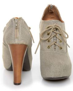 Qupid Puffin 28 Stone Canvas Lace-Up Ankle Booties - $39.00