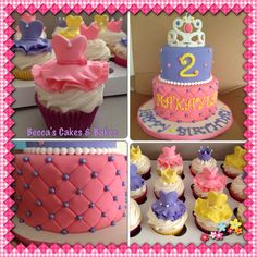 Princess Cake with princess dress cupcakes