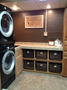 Laundry Room -basement or garage - painted cement block walls
