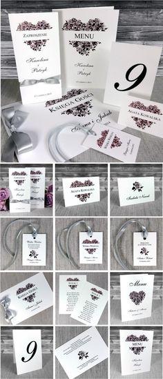 zaproszenia ślubne - Zaproszenia z sercem z róż. Eleganckie, stylowe. Róże w kolorze starego różu i szarości.