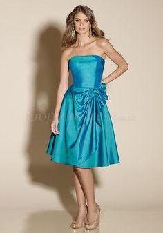 Strapless Blue Taffeta Draping Knee-length Bridesmaid Dress - Gopromdress.co.uk