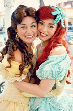 OMG @Katrina McCarver IT'S YOU AND MEEEE!!! Omg they would be the best of friends! Ariel would listen to belle's human stories and belle would listen to Ariel's mermaid stories!