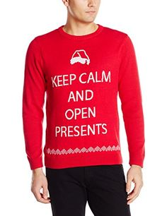 Alex Stevens Men's Keep Calm and Open Presents Ugly Christmas Sweater, Red Combo, Medium