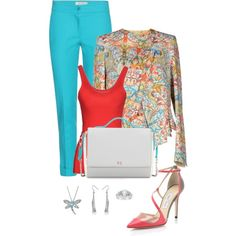 Work outfit for spring 283 by adgubbe on Polyvore featuring polyvore, fashion, style, Suoli, Just Cavalli, Etro, Jimmy Choo, Halston Heritage, Allurez and Belec