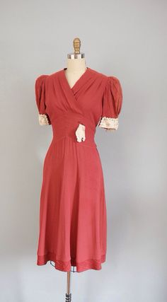 1930s Dress with reverse chevron waistband
