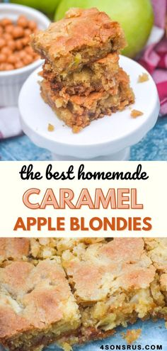 Brownies tend to get all the hype, but blondies are just as yummy and easy to make from scratch. These caramel apple blondies are a delicious dessert infused with sweet chopped apple chunks, and gooey caramel bits. It's the perfect indulgence to celebrate several of your favorite Fall flavors! #recipe #food #easyrecipe Brunch Recipes, New Recipes, Dessert Recipes, Favorite Recipes, Caramel Bits, Caramel Apples, Best Comfort Food, Comfort Foods, Amazing Recipes
