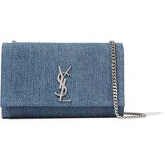 Saint Laurent Monogramme medium denim shoulder bag ($1,345) ❤ liked on Polyvore featuring bags, handbags, shoulder bags, clutches, bolsas, ysl, blue handbags, yves saint laurent handbags, purse shoulder bag and blue shoulder bag