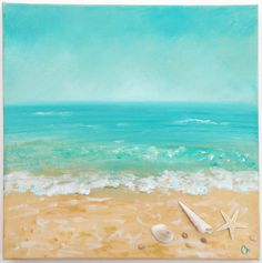 Beach painting with shells and texture by TheEscapeArtist on Etsy, $75.00