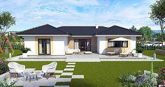 Bungalow 80 sqm new construction Bungalow Exterior, Bungalow House Design, Modern Farmhouse Exterior, Farmhouse Plans, U Shaped House Plans, U Shaped Houses, Bungalows, Architectural House Plans, Bedroom Wall Designs