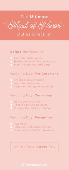 The Ultimate Maid of Honor Duties Checklist - From before the wedding to during the ceremony, check out the ultimate list of maid of honor duties on @weddingwire!