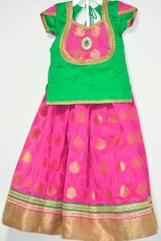 Kids Pink Banaras Silk Lehenga with Green silk Blouse Choli - Designer Pattu Langa Pavada by LaxmiFashions