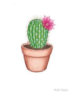 Cactus watercolor art print.
