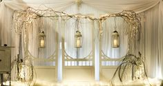 A lantern and weeping willow wedding backdrop from in Swift Current. Wedding Vendors, Wedding Events, Weddings, Pinterest For Business, School Design, Event Decor, Event Design, Lanterns, Backdrops