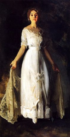 ▴ Artistic Accessories ▴ clothes, jewelry, hats in art - George Bellows | Mrs. Albert M. Miller, 1912