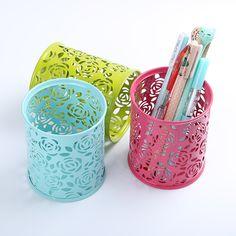 1 ADET Ofis Malzemeleri Kalem Kalem Pot Tutucu Kırtasiye Konteyner 4 Renkler Delikli Out Demir Gül Çiçek Yuvarlak Kalem Sahipleri