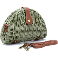 Yoins Green Straw-woven Shoulder Bag With Flap Top ($19) ❤ liked on Polyvore featuring bags, handbags, shoulder bags, straw handbags, green handbags, man shoulder bag, flap shoulder bag and hand woven bags