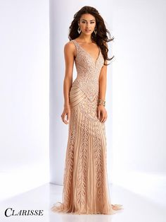 Clarisse 3090 is a romantic lace dress with a low v neckline and open back, available in champagne and navy. Clarisse Sleeveless V Neck Lace Dress Category: Prom Dresses Color: CHAMPAGNE; V Neck Prom Dresses, Prom Dresses 2017, Pageant Dresses, Formal Dresses, Modest Dresses, Formal Wear, Long Mermaid Dress, Mermaid Dresses, Bride Gowns