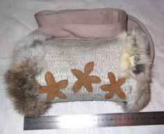 Muffs - Unique designed muff for warm hands! Rabbit Fur -100% nature wool knitting with leather applications. Lace from cashmere. Little Bag inside. Trendy!