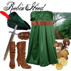 Robin Hood Costume. But where do you get a cute hat like that?! Or the squirrel...