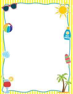 Free summer border templates including printable border paper and clip art versions. File formats include GIF, JPG, PDF, and PNG. Borders Free, Page Borders, Borders For Paper, Borders And Frames, Printable Border, Printable Labels, Printable Paper, Free Printable, Printables