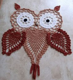 Owls are in!  And this handsome crochet pineapple owl is perfect worked in russet and copper mist.  With huge round eyes and a bead nose, he is sure to please everyone!  Hoot...hoot...