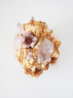 What lies inside - Quartz Heart - Wood - sculpture by Jelka Quintelier
