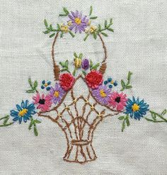 Special Antique White Linen Tea Towel Basket of Flowers Embroidery Embroidery Neck Designs, Embroidery Flowers Pattern, Embroidery Motifs, Creative Embroidery, Embroidery Patterns Free, Vintage Embroidery, Embroidery Kits, Sewing Patterns, Saree Painting Designs