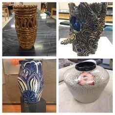 High School Intro to Ceramics, coil built vases.