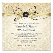 Gold Floral Swirls Ribbon Damask Wedding Invite