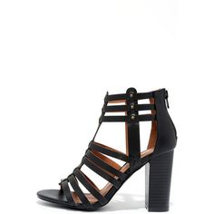 987b8f4db29 Take a Stand Black Studded Caged Heels ( 32) ❤ liked on Polyvore featuring  shoes