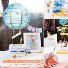 Hot Air Balloon Diaper Cake Tutorial + Free Printables! Get the full DIY & downloads here: http://hwtm.me/13LWtFB