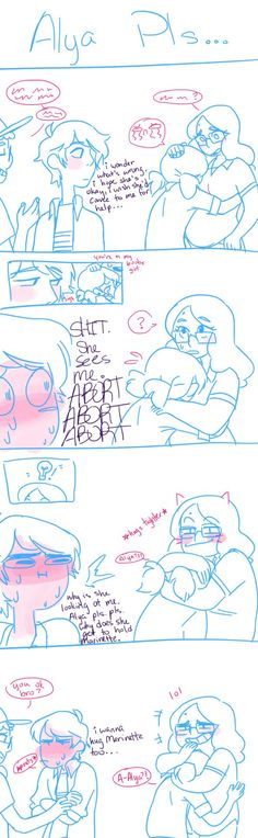 """uncertainwish: """" not as good as my other comic but here's adrien pouting because he cant hug marinette """""""