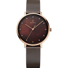 Obaku Watches Womens Mother of Pearl Stainless Steel Watch -... (€135) ❤ liked on Polyvore featuring jewelry, watches, brown, analog wrist watch, stainless steel watches, mother of pearl watches, stainless steel jewelry and brown jewelry