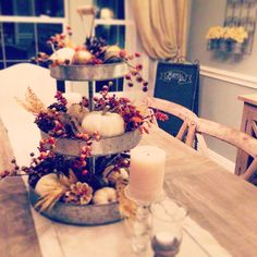 natural Fall centerpiece in a versatile 3 tiered galvanized stand! Love how it turned out. Harvest Decorations, Thanksgiving Decorations, Seasonal Decor, Fall Home Decor, Autumn Home, Galvanized Tiered Tray, Tiered Stand, Fall Harvest, Tray Decor