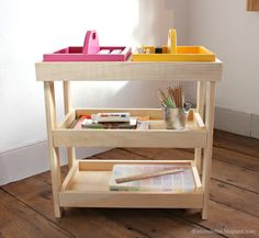 Ana White   Build a Art Storage Shelf with Caddies   Free and Easy DIY Project and Furniture Plans