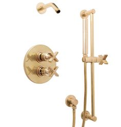 West Slope Thermostatic Shower Set with Handheld Aged Brass C2453