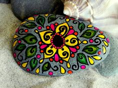 Yellow Lotus Flower / Painted Rock / Sandi Pike by LoveFromCapeCod, $38.00