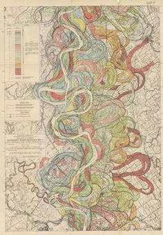 Harold Fisk's 1944 alluvial maps of the Lower Mississippi River Valley for the Army Corps of Engineers. There were 15 giant plates in total, tracing the meanders and oxbow bends of the Mississippi back hundreds of years.