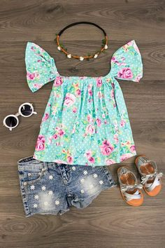 Turquoise Floral Off Shoulder Shirt Dresses Kids Girl, Little Girl Outfits, Kids Outfits Girls, Cute Outfits For Kids, Toddler Girl Outfits, Toddler Girls, Baby Girl Fashion, Toddler Fashion, Kids Fashion