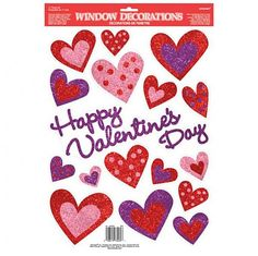 Glitter heart window decorations perfect for valentine's day. Red, pink and purple designs. Measures: 45CM x 30.5cm