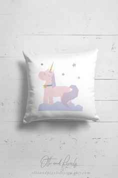 Unicorn pillow for baby girls by OttoandPixelsDesign on Etsy