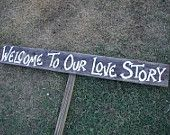 Rustic Wood Wedding Sign on Stake Bridal Shower Directional Arrow. $20.00, via Etsy.