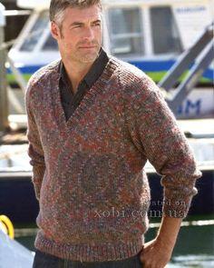 мужской меланжевый пуловер вязаный спицами