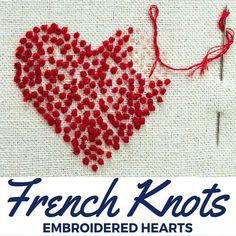 Nudo Francés Corazones Bordados  #bordados #corazones #frances #nudo