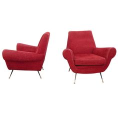 Italan Pair of Chairs | From a unique collection of antique and modern lounge chairs at http://www.1stdibs.com/furniture/seating/lounge-chairs/