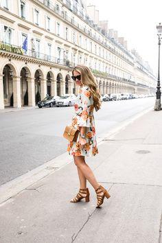 Floral Dress and Cognac Block Heels